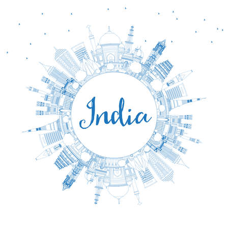 Outline India City Skyline with Blue Buildings and Copy Space. Delhi. Mumbai, Bangalore, Chennai. Vector Illustration. Tourism Concept with Historic Architecture. India Cityscape with Landmarks. Illustration