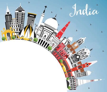 India City Skyline with Color Buildings, Blue Sky and Copy Space. Delhi. Mumbai, Bangalore, Chennai. Vector Illustration. Tourism Concept with Historic Architecture. India Cityscape with Landmarks. Vetores