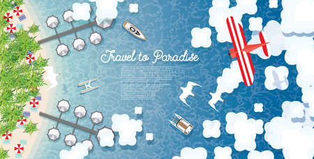 Maldives Summer Background with Sea, Tropical Beach, Palms, Hotel, Clouds and Airplane. Aerial View. Vector Illustration. Gulls Flying Over the Sea.