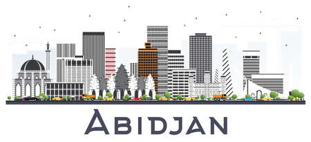 Abidjan Ivory Coast City Skyline with Gray Buildings Isolated on White. Vector Illustration. Business Travel and Tourism Concept with Modern Architecture. Abidjan Cityscape with Landmarks. Banque d'images - 112311667