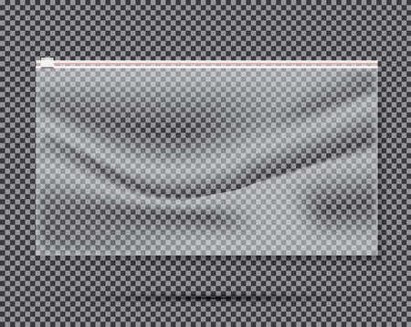 Transparent Nylon or Polyethylene Bag with Lock or Zip. Vector Illustration.
