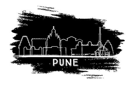 Pune India City Skyline Silhouette. Hand Drawn Sketch. Vector Illustration. Business Travel and Tourism Concept with Historic Architecture. Pune Cityscape with Landmarks.
