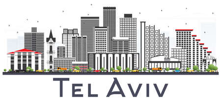 Tel Aviv Israel City Skyline with Gray Buildings Isolated on White. Vector Illustration. Business Travel and Tourism Concept with Modern Architecture. Tel Aviv Cityscape with Landmarks.
