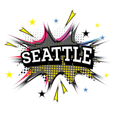 Seattle Comic Text in Pop Art Style. Vector Illustration.