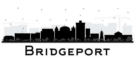 Bridgeport Connecticut City Skyline with Black Buildings Isolated on White. Vector Illustration. Business Travel and Tourism Concept with Historic Architecture. Bridgeport USA Cityscape with Landmarks. Illustration