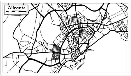 Alicante Spain City Map in Retro Style. Outline Map. Vector Illustration.