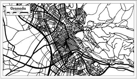 Granada Spain City Map in Retro Style. Outline Map. Vector Illustration. 向量圖像