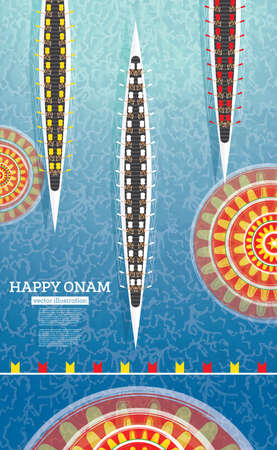 Onam Boat Festival Background. South India Kerala Festival. Vector Illustration. Illustration