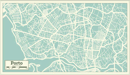Porto Portugal City Map in Retro Style. Outline Map. Vector Illustration.