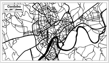 Cordoba Spain City Map in Retro Style. Outline Map. Vector Illustration.