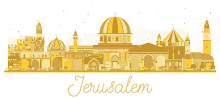 Jerusalem Israel Skyline Silhouette with Golden Buildings. Vector Illustration. Business Travel and Tourism Concept with Historic Architecture. Jerusalem Cityscape with Landmarks.