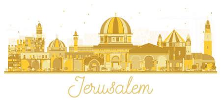 Gerusalemme Israele Skyline Silhouette con edifici d'oro. Illustrazione vettoriale. Viaggi d'affari e concetto di turismo con architettura storica. Paesaggio urbano di Gerusalemme con punti di riferimento.