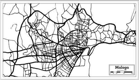 Malaga Spain City Map in Retro Style. Outline Map. Vector Illustration.