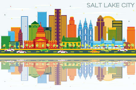 Salt Lake City Utah Skyline with Color Buildings, Blue Sky and Reflections. Vector Illustration. Business Travel and Tourism Concept with Historic Architecture. Salt Lake City Cityscape with Landmarks.