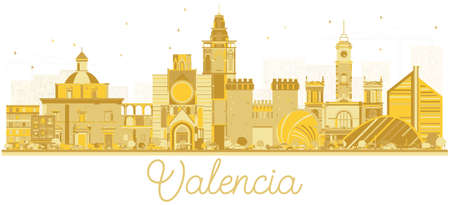 Valencia Spain City Skyline Silhouette with Golden Buildings. Vector Illustration. Business Travel and Tourism Concept with Historic Architecture. Valencia Cityscape with Landmarks.