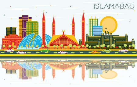 Islamabad Pakistan City Skyline with Color Buildings, Blue Sky and Reflections. Vector Illustration. Business Travel and Tourism Concept with Historic Architecture. Islamabad Cityscape with Landmarks.