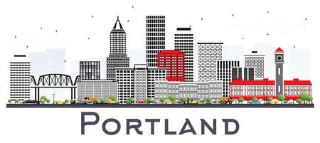 Portland Oregon City Skyline with Gray Buildings Isolated on White. Vector Illustration. Business Travel and Tourism Concept with Modern Architecture. Portland Cityscape with Landmarks.