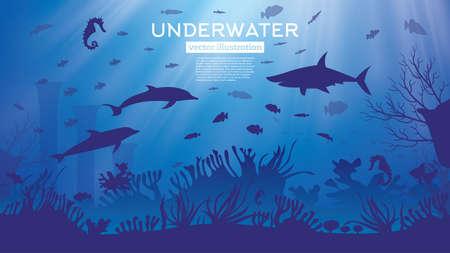 Unterwassermeer oder Ozeanhintergrund mit Algen und Fischen. Vektor-Illustration. Marine-Riff-Szene mit Haien.