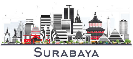 Surabaya Indonesia Skyline with Gray Buildings Isolted on White. Vector Illustration. Business Travel and Tourism Concept with Modern Architecture. Surabaya Cityscape with Landmarks. Illustration