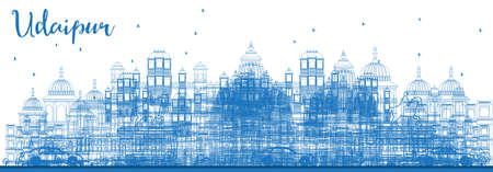 Outline Udaipur India Skyline with Blue Buildings. Vector Illustration. Business Travel and Tourism Concept with Historic Architecture. Udaipur Cityscape with Landmarks. Illustration