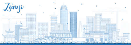 Outline Zunyi China City Skyline with Blue Buildings. Vector Illustration. Business Travel and Tourism Concept with Modern Architecture. Zunyi Cityscape with Landmarks.