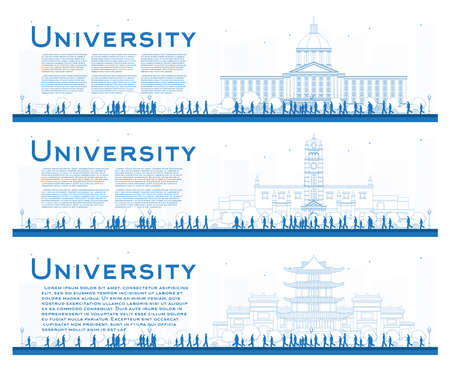 Outline Set of University Campus Study Banners. Vector Illustration. Students Go to the Main Building of University. Banner with Copy Space. 向量圖像