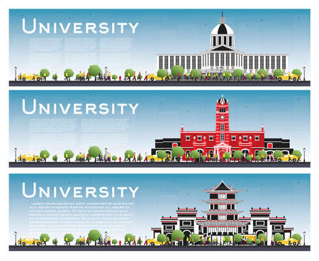Set of University Campus Study Banners. Vector Illustration. Students Go to the Main Building of University. Skyline with Blue Sky and Green Tree. Banner with Copy Space.