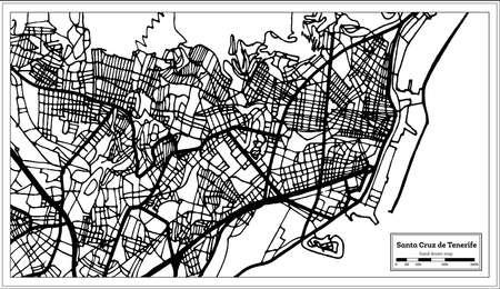Santa Cruz de Tenerife Spain City Map in Retro Style. Outline Map. Vector Illustration.