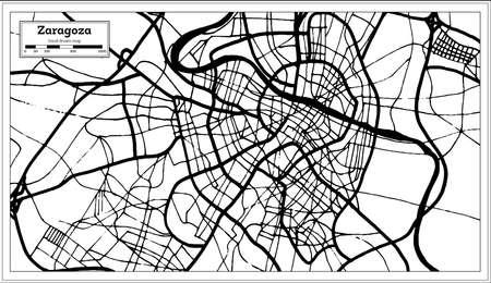 Zaragoza Spain City Map in Retro Style. Outline Map. Vector Illustration.