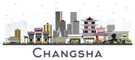 Changsha China City Skyline with Gray Buildings Isolated on White. Vector Illustration. Business Travel and Tourism Concept with Modern Architecture. Changsha Cityscape with Landmarks. Standard-Bild - 111995224