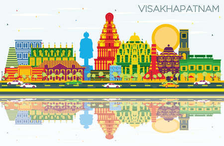 Visakhapatnam India City Skyline with Color Buildings, Blue Sky and Reflections. Vector Illustration. Business Travel and Tourism Concept with Historic Architecture. Visakhapatnam Cityscape with Landmarks.
