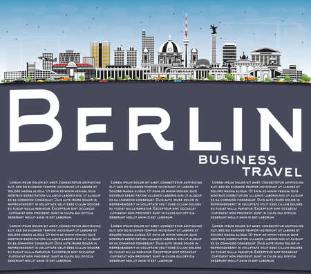 Berlin Germany Skyline with Gray Buildings, Blue Sky and Copy Space. Vector Illustration. Business Travel and Tourism Concept with Historic Architecture. Berlin Cityscape with Landmarks.