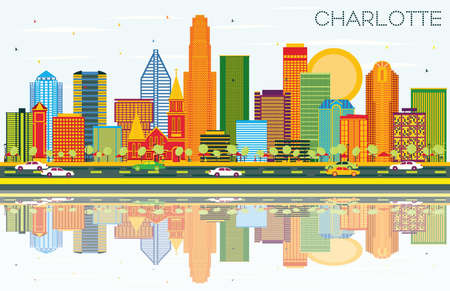 Charlotte North Carolina City Skyline with Color Buildings, Blue Sky and Reflections. Vector Illustration. Business Travel and Tourism Concept with Modern Architecture. Charlotte Cityscape with Landmarks.
