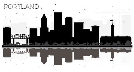 Portland Oregon City skyline black and white silhouette with Reflections. Vector illustration. Simple flat concept for tourism presentation, banner, placard or web site. Portland Cityscape with landmarks.