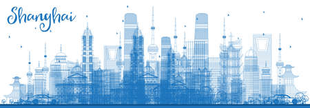 Outline Shanghai Skyline with Blue Buildings. Vector Illustration. Business Travel and Tourism Concept with Modern Architecture. Shanghai Cityscape with Landmarks.
