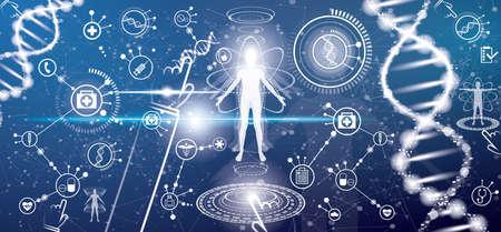 Concepto de salud médica futurista con cuerpo humano y estructura de la molécula de ADN. Ilustración de vector. Iconos médicos. Elementos de la interfaz HUD.