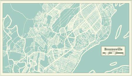 Brazzaville Congo City Map in Retro Style. Outline Map. Vector Illustration. Illustration
