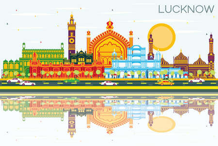 Lucknow India City Skyline with Gray Buildings, Blue Sky and Reflections. Vector Illustration. Business Travel and Tourism Concept with Modern Architecture. Lucknow Cityscape with Landmarks. Illustration