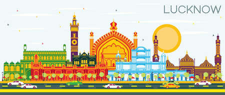 Lucknow India City Skyline with Gray Buildings and Blue Sky. Vector Illustration. Business Travel and Tourism Concept with Modern Architecture. Lucknow Cityscape with Landmarks. Illustration