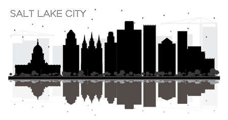 Salt Lake City Utah Skyline black and white silhouette with Reflections. Vector illustration. Simple flat concept for tourism presentation, banner, placard or web site. Salt Lake City Cityscape with landmarks.