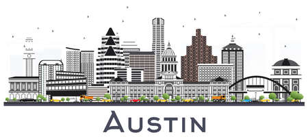 Austin Texas City Skyline with Gray Buildings Isolated on White. Vector Illustration. Business Travel and Tourism Concept with Modern Architecture. Austin USA Cityscape with Landmarks. Illustration