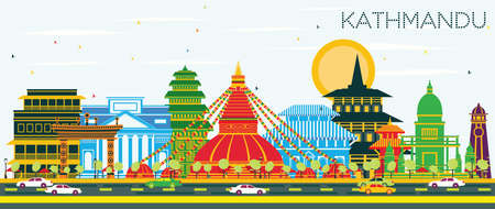 Kathmandu Nepal City Skyline with Color Buildings and Blue Sky. Vector Illustration. Business Travel and Tourism Concept with Historic Architecture. Kathmandu Cityscape with Landmarks. Illustration