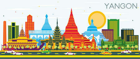 Yangon Myanmar City Skyline with Color Buildings and Blue Sky. Vector Illustration. Business Travel and Tourism Concept with Historic Architecture. Yangon Cityscape with Landmarks.