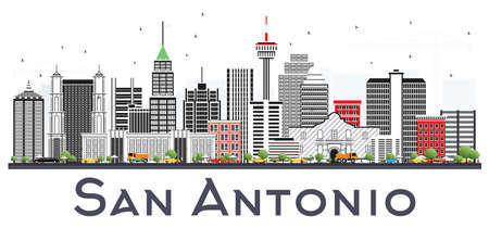 San Antonio Texas City Skyline with Gray Buildings Isolated on White. Vector Illustration. Business Travel and Tourism Concept with Modern Architecture. San Antonio Cityscape with Landmarks.