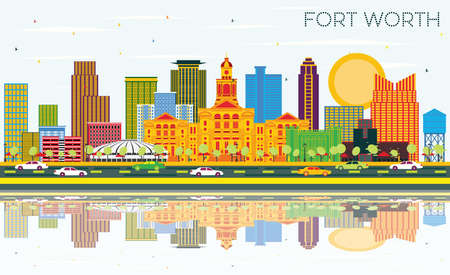 Fort Worth Texas City Skyline with Color Buildings, Blue Sky and Reflections. Vector Illustration. Business Travel and Tourism Concept with Modern Architecture. Fort Worth Cityscape with Landmarks.