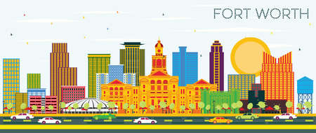 Fort Worth Texas City Skyline with Color Buildings and Blue Sky. Vector Illustration. Business Travel and Tourism Concept with Modern Architecture. Fort Worth Cityscape with Landmarks. Illustration