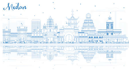 Outline Medan Indonesia City Skyline with Blue Buildings and Reflections. Vector Illustration. Business Travel and Tourism Concept with Historic Architecture. Medan Cityscape with Landmarks.