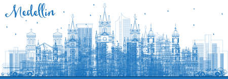 Outline Medellin Colombia City Skyline with Blue Buildings. Vector Illustration. Business Travel and Tourism Concept with Historic Architecture. Medellin Cityscape with Landmarks.