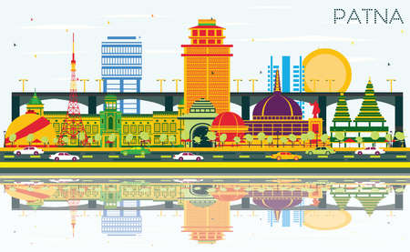 Patna India City Skyline with Color Buildings, Blue Sky and Reflections. Vector Illustration. Business Travel and Tourism Concept with Modern Architecture. Patna Cityscape with Landmarks.