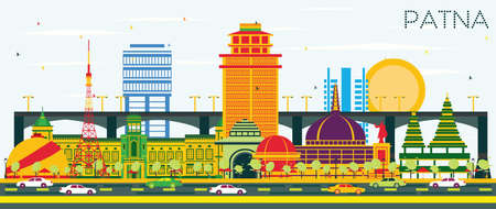 Patna India City Skyline with Color Buildings and Blue Sky. Vector Illustration. Business Travel and Tourism Concept with Modern Architecture. Patna Cityscape with Landmarks. Illustration